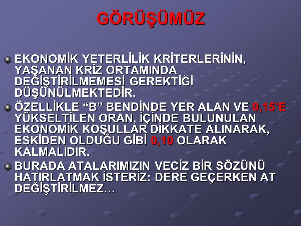 """GÖRÜŞÜMÜZ EKONOMİK YETERLİLİK KRİTERLERİNİN, YAŞANAN KRİZ ORTAMINDA DEĞİŞTİRİLMEMESİ GEREKTİĞİ DÜŞÜNÜLMEKTEDİR. ÖZELLİKLE """"B"""" BENDİNDE YER ALAN VE 0,1"""