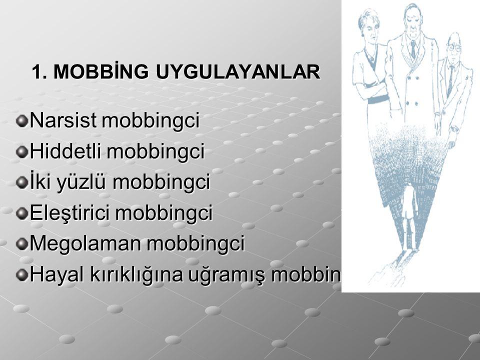 1. MOBBİNG UYGULAYANLAR Narsist mobbingci Hiddetli mobbingci İki yüzlü mobbingci Eleştirici mobbingci Megolaman mobbingci Hayal kırıklığına uğramış mo