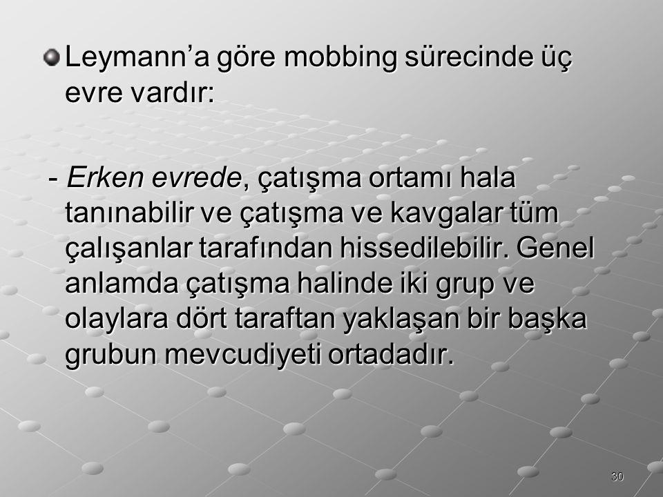 30 Leymann'a göre mobbing sürecinde üç evre vardır: - Erken evrede, çatışma ortamı hala tanınabilir ve çatışma ve kavgalar tüm çalışanlar tarafından h
