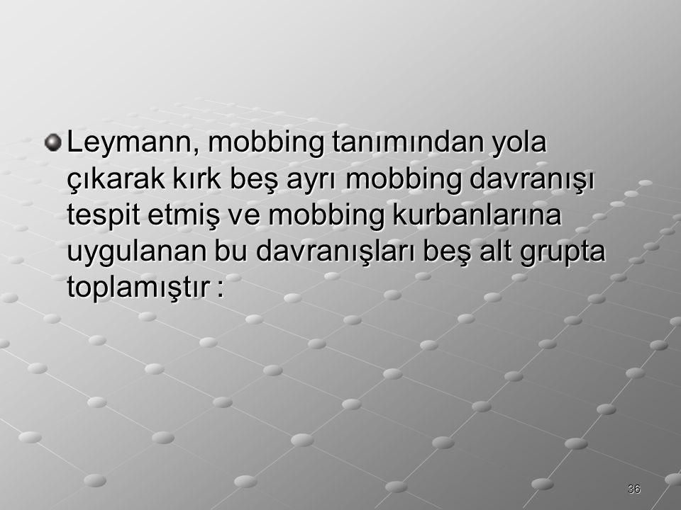 36 Leymann, mobbing tanımından yola çıkarak kırk beş ayrı mobbing davranışı tespit etmiş ve mobbing kurbanlarına uygulanan bu davranışları beş alt gru