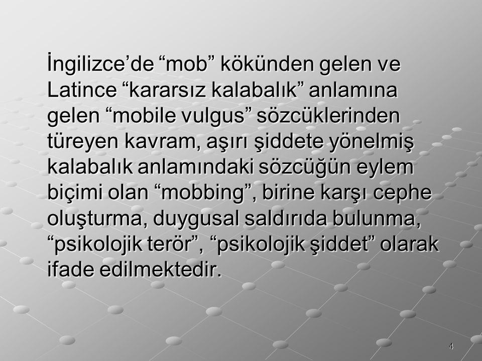 """4 İngilizce'de """"mob"""" kökünden gelen ve Latince """"kararsız kalabalık"""" anlamına gelen """"mobile vulgus"""" sözcüklerinden türeyen kavram, aşırı şiddete yönelm"""