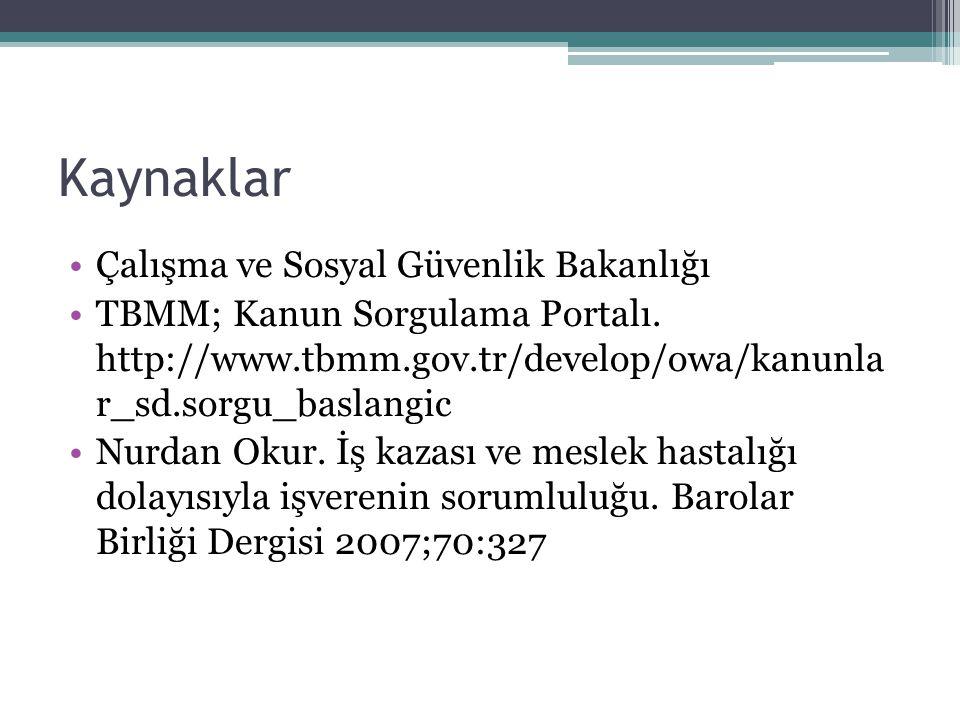 Kaynaklar Çalışma ve Sosyal Güvenlik Bakanlığı TBMM; Kanun Sorgulama Portalı. http://www.tbmm.gov.tr/develop/owa/kanunla r_sd.sorgu_baslangic Nurdan O
