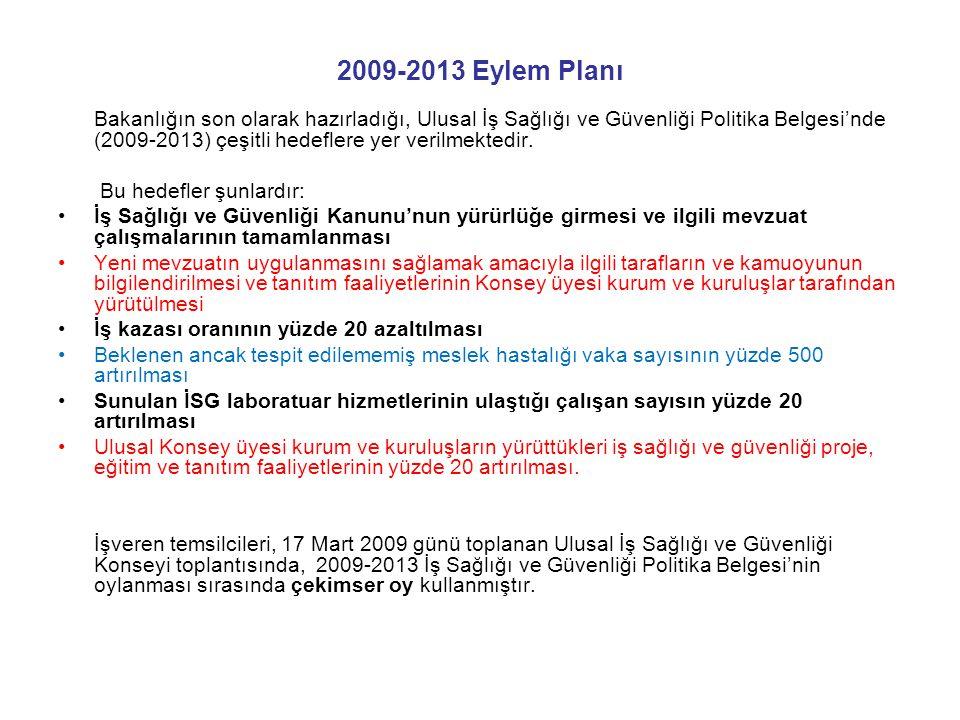 2009-2013 Eylem Planı Bakanlığın son olarak hazırladığı, Ulusal İş Sağlığı ve Güvenliği Politika Belgesi'nde (2009-2013) çeşitli hedeflere yer verilme