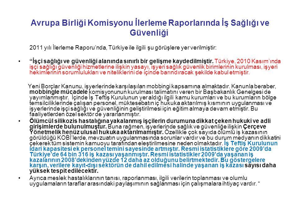 Avrupa Birliği Komisyonu İlerleme Raporlarında İş Sağlığı ve Güvenliği 2011 yılı İlerleme Raporu'nda, Türkiye ile ilgili şu görüşlere yer verilmiştir: