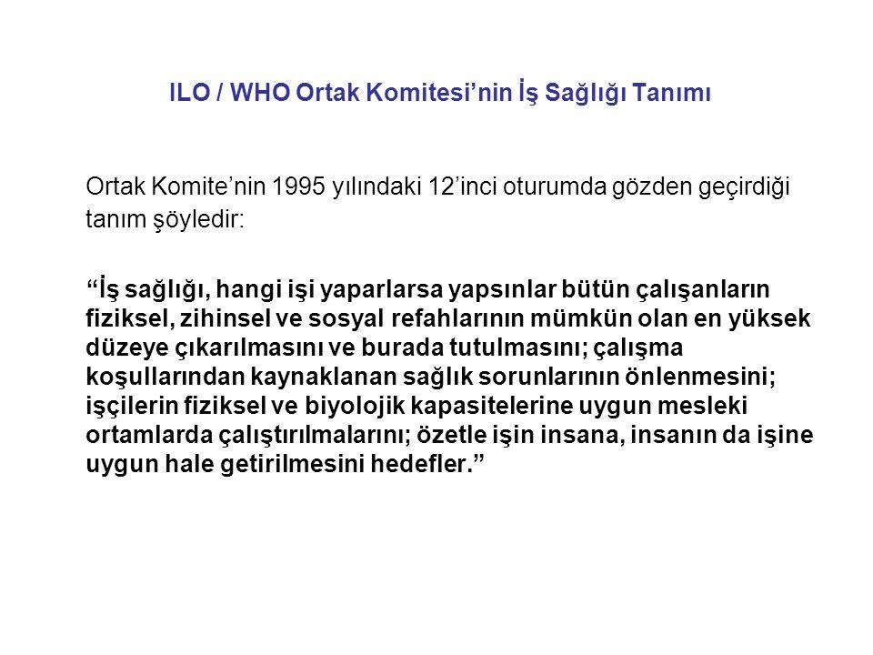 """ILO / WHO Ortak Komitesi'nin İş Sağlığı Tanımı Ortak Komite'nin 1995 yılındaki 12'inci oturumda gözden geçirdiği tanım şöyledir: """"İş sağlığı, hangi iş"""
