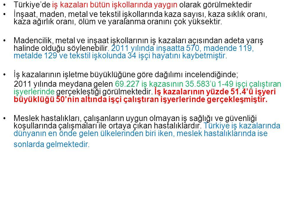 Türkiye'de iş kazaları bütün işkollarında yaygın olarak görülmektedir İnşaat, maden, metal ve tekstil işkollarında kaza sayısı, kaza sıklık oranı, kaz