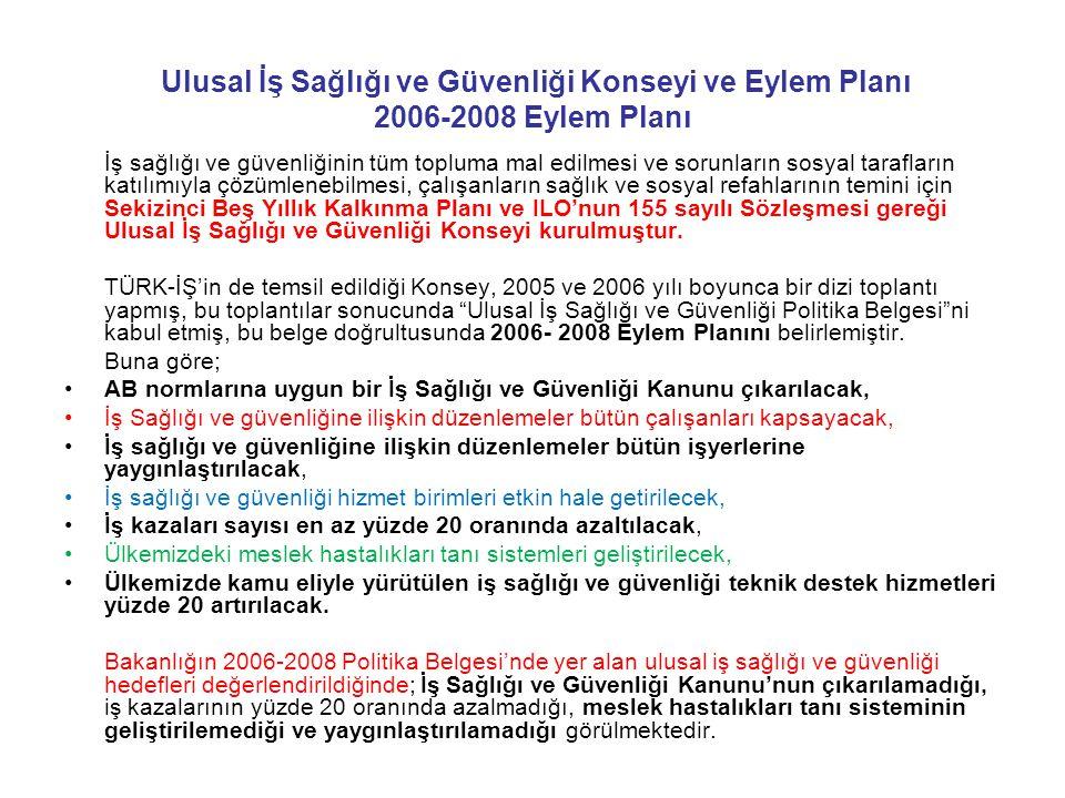 Ulusal İş Sağlığı ve Güvenliği Konseyi ve Eylem Planı 2006-2008 Eylem Planı İş sağlığı ve güvenliğinin tüm topluma mal edilmesi ve sorunların sosyal t