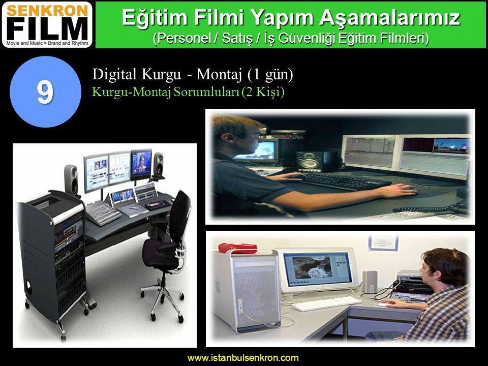 www.istanbulsenkron.com Digital Kurgu - Montaj (1 gün) Kurgu-Montaj Sorumluları (2 Kişi) 9 Eğitim Filmi Yapım Aşamalarımız (Personel / Satış / İş Güvenliği Eğitim Filmleri)