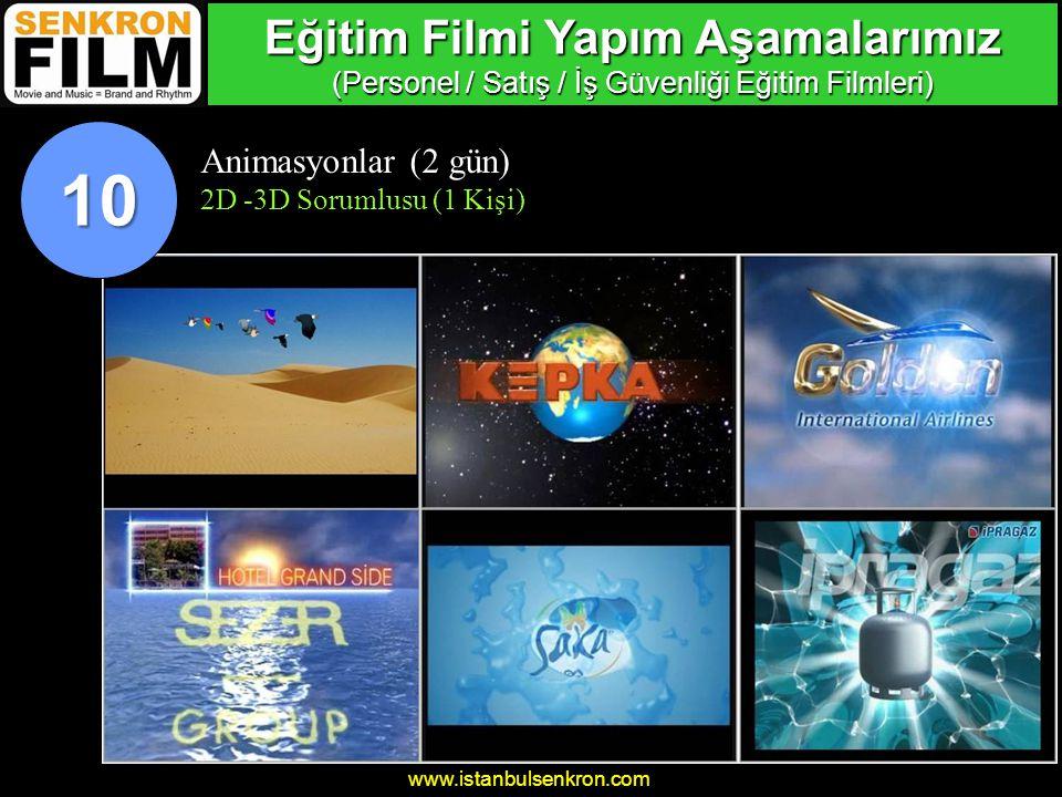 www.istanbulsenkron.com Animasyonlar (2 gün) 2D -3D Sorumlusu (1 Kişi) 10 Eğitim Filmi Yapım Aşamalarımız (Personel / Satış / İş Güvenliği Eğitim Filmleri)