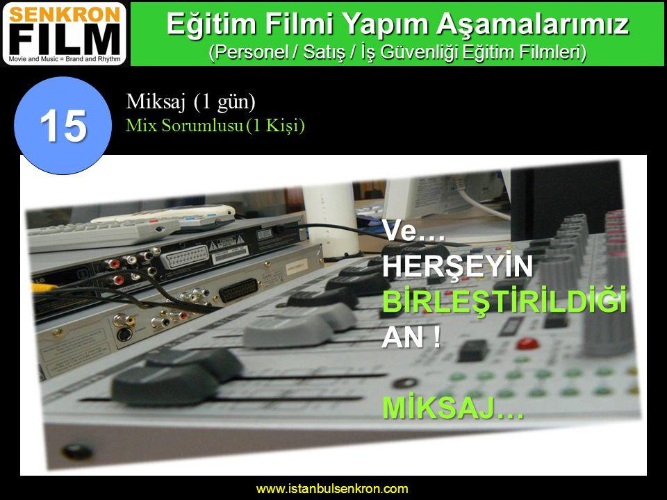 www.istanbulsenkron.com Miksaj (1 gün) Mix Sorumlusu (1 Kişi) 15 Ve…HERŞEYİNBİRLEŞTİRİLDİĞİ AN .