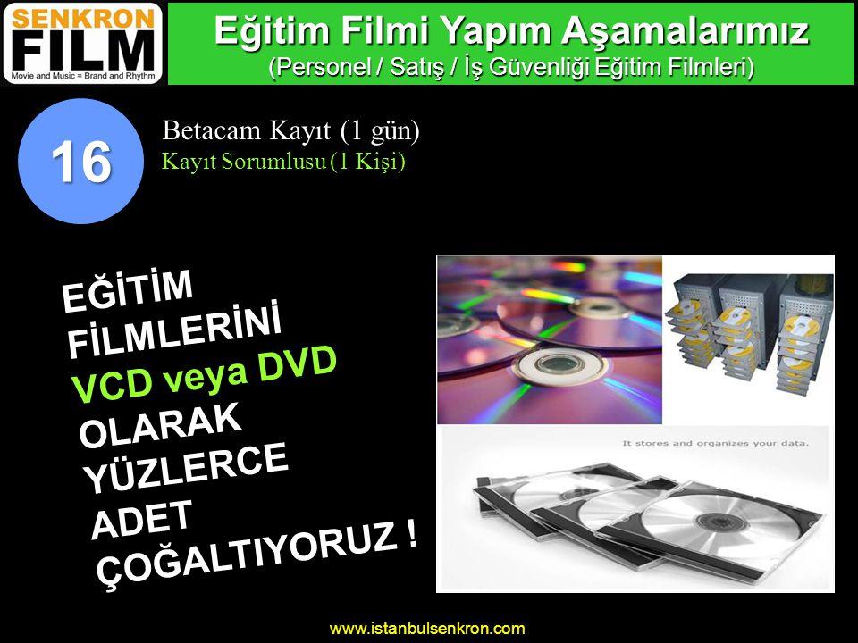 www.istanbulsenkron.com Betacam Kayıt (1 gün) Kayıt Sorumlusu (1 Kişi) 16 Eğitim Filmi Yapım Aşamalarımız (Personel / Satış / İş Güvenliği Eğitim Filmleri) EĞİTİMFİLMLERİNİ VCD veya DVD OLARAKYÜZLERCEADET ÇOĞALTIYORUZ !