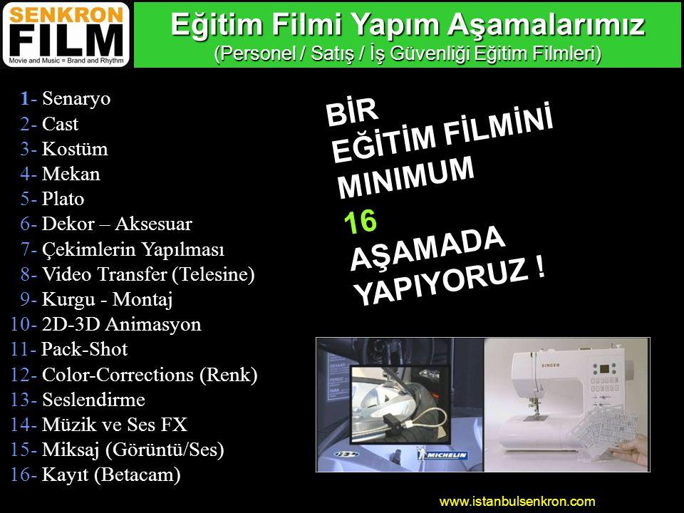 www.istanbulsenkron.com 1- Senaryo 2- Cast 3- Kostüm 4- Mekan 5- Plato 6- Dekor – Aksesuar 7- Çekimlerin Yapılması 8- Video Transfer (Telesine) 9- Kurgu - Montaj 10- 2D-3D Animasyon 11- Pack-Shot 12- Color-Corrections (Renk) 13- Seslendirme 14- Müzik ve Ses FX 15- Miksaj (Görüntü/Ses) 16- Kayıt (Betacam) Eğitim Filmi Yapım Aşamalarımız (Personel / Satış / İş Güvenliği Eğitim Filmleri) BİR EĞİTİM FİLMİNİ MINIMUM16AŞAMADA YAPIYORUZ !