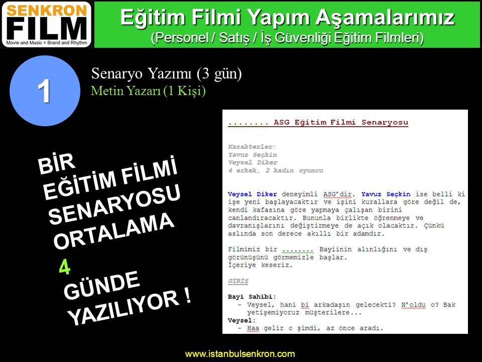 www.istanbulsenkron.com Senaryo Yazımı (3 gün) Metin Yazarı (1 Kişi) BİR EĞİTİM FİLMİ SENARYOSU ORTALAMA 4 GÜNDE YAZILIYOR .