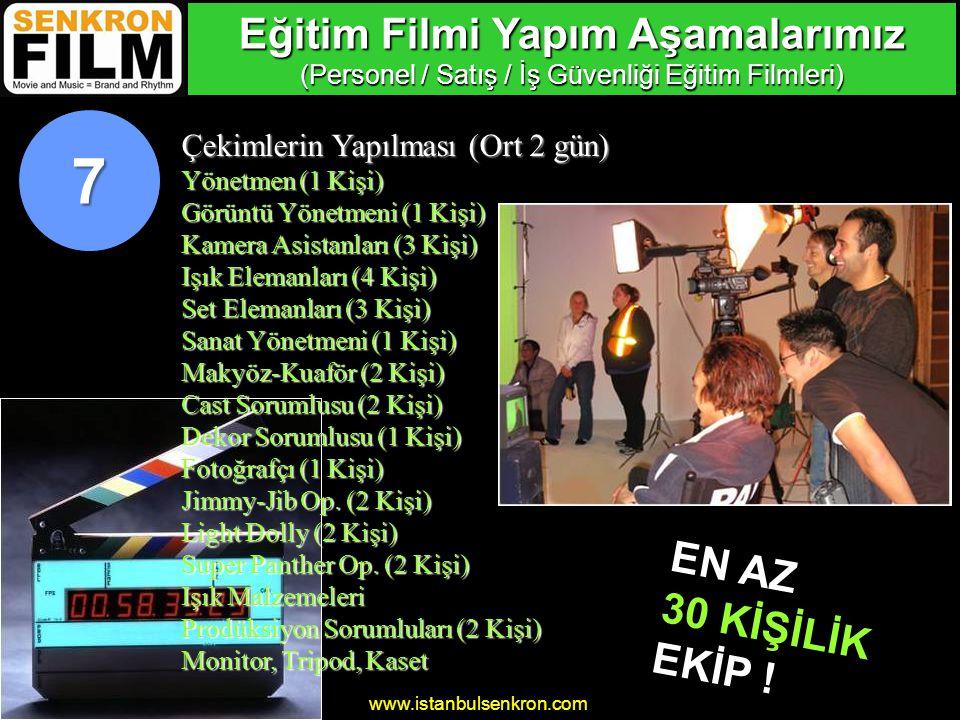 www.istanbulsenkron.com Video Transfer (3 gün) Digital Video Sorumlusu (1 Kişi) 8 Eğitim Filmi Yapım Aşamalarımız (Personel / Satış / İş Güvenliği Eğitim Filmleri)