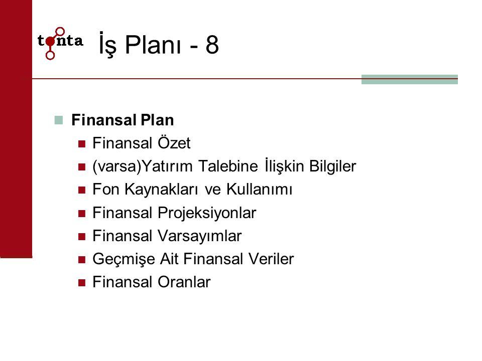 İş Planı - 8 Finansal Plan Finansal Özet (varsa)Yatırım Talebine İlişkin Bilgiler Fon Kaynakları ve Kullanımı Finansal Projeksiyonlar Finansal Varsayı