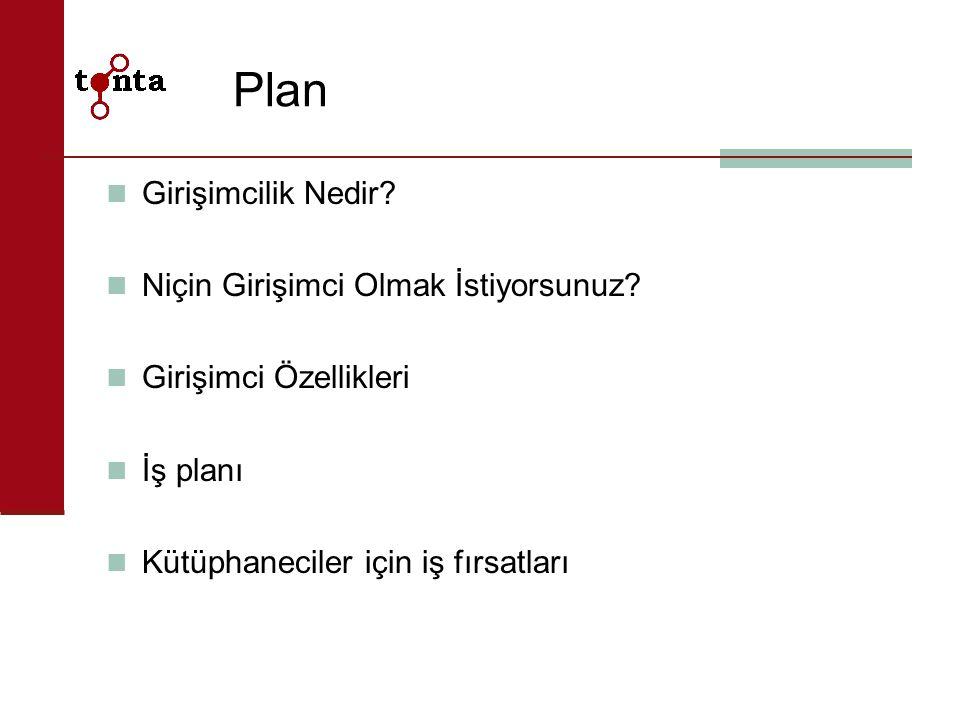 Plan Girişimcilik Nedir? Niçin Girişimci Olmak İstiyorsunuz? Girişimci Özellikleri İş planı Kütüphaneciler için iş fırsatları