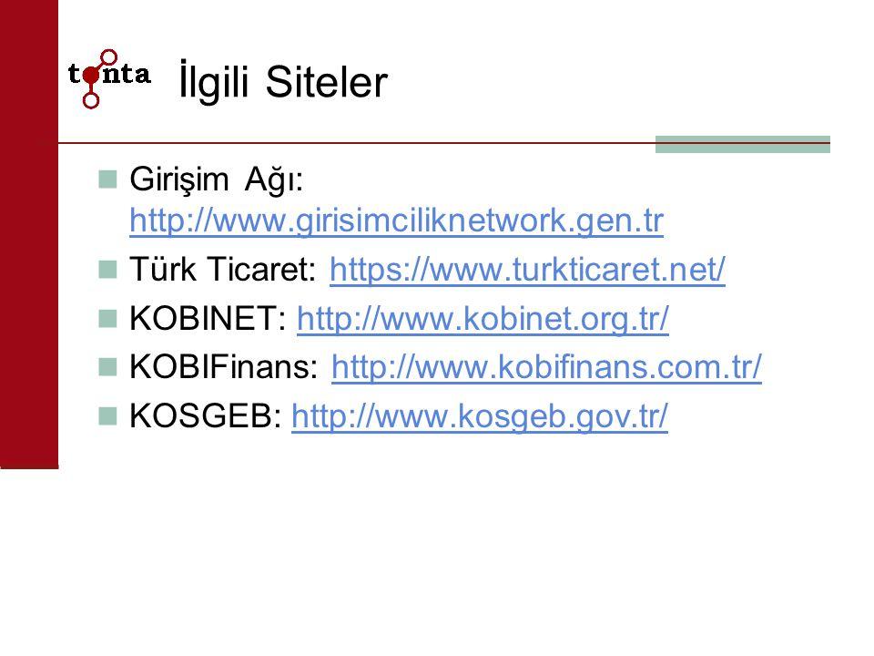 İlgili Siteler Girişim Ağı: http://www.girisimciliknetwork.gen.tr http://www.girisimciliknetwork.gen.tr Türk Ticaret: https://www.turkticaret.net/http