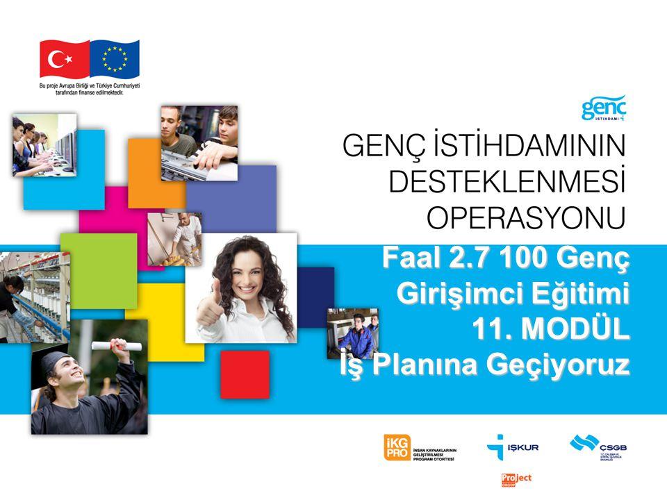 Faal 2.7 100 Genç Girişimci Eğitimi 11. MODÜL İş Planına Geçiyoruz