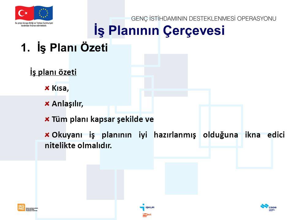 İş planı özeti Kısa, Anlaşılır, Tüm planı kapsar şekilde ve Okuyanı iş planının iyi hazırlanmış olduğuna ikna edici nitelikte olmalıdır. İş Planının Ç