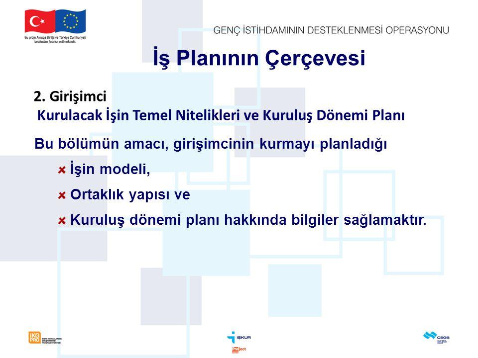 Bu bölümün amacı, girişimcinin kurmayı planladığı İşin modeli, Ortaklık yapısı ve Kuruluş dönemi planı hakkında bilgiler sağlamaktır. İş Planının Çerç