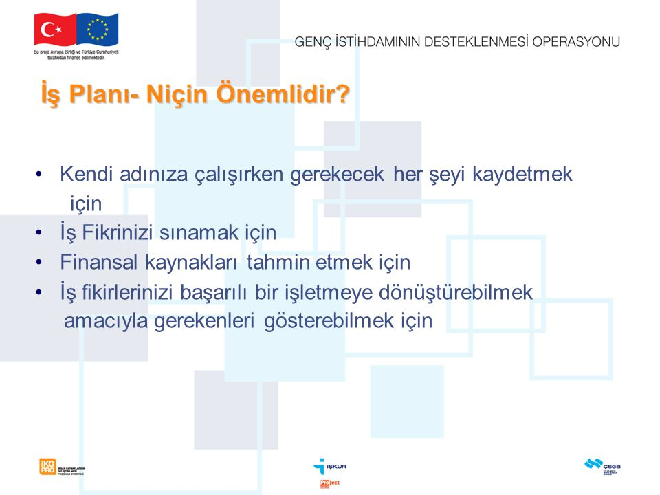 Kısa vadeli hedeflere örnekler:  İşletmede 15 kişilik istihdam kapasitesi oluşturmak,  5 adet yerli üretim makineye sahip olmak,  İstanbul ilinde bulunan hedef müşterilerden %25'ine satış yapmak,  25.000 adet ürün satışını gerçekleştirmek,  İşletmenin ayakta kalmasını ve sürdürülebilirliğini sağlamak,  Yatırımın geri dönüşünü sağlamak,  İşletmenin sürekliliğini sağlayacak mali, teknik ve idari yapıyı sağlamış olmak vb… İş Planının Çerçevesi 2.