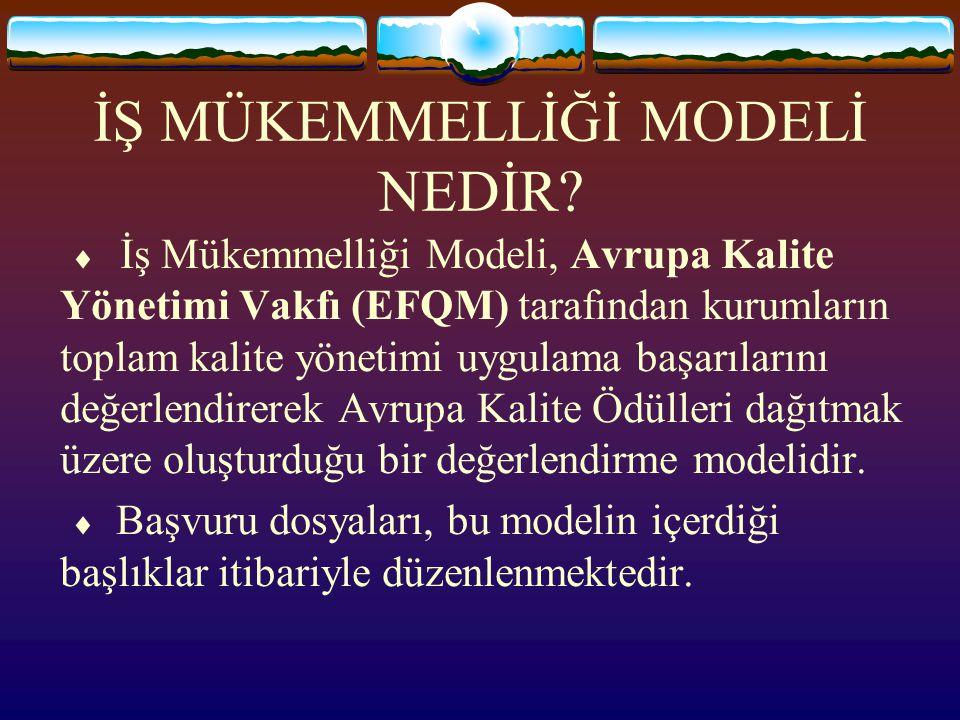 İŞ MÜKEMMELLİĞİ MODELİ NEDİR?  İş Mükemmelliği Modeli, Avrupa Kalite Yönetimi Vakfı (EFQM) tarafından kurumların toplam kalite yönetimi uygulama başa