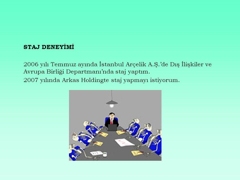 STAJ DENEYİMİ 2006 yılı Temmuz ayında İstanbul Arçelik A.Ş.'de Dış İlişkiler ve Avrupa Birliği Departmanı'nda staj yaptım.