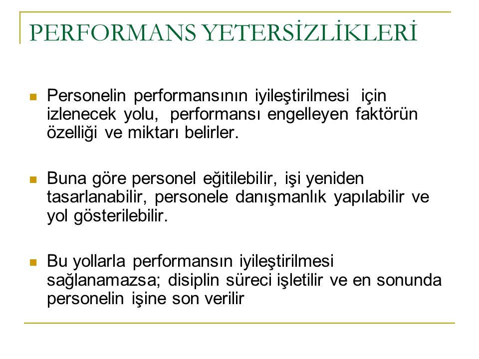 PERFORMANS YETERSİZLİKLERİ Personelin performansının iyileştirilmesi için izlenecek yolu, performansı engelleyen faktörün özelliği ve miktarı belirler.