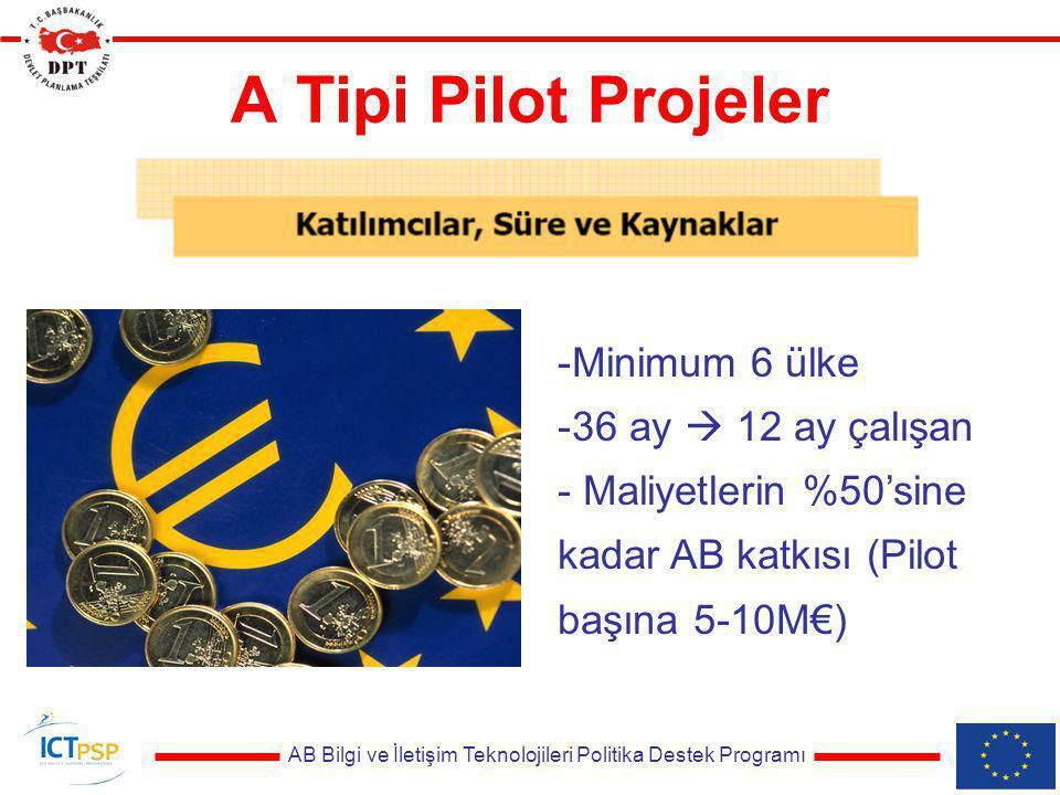 AB Bilgi ve İletişim Teknolojileri Politika Destek Programı A Tipi Pilot Projeler -Minimum 6 ülke -36 ay  12 ay çalışan - Maliyetlerin %50'sine kadar