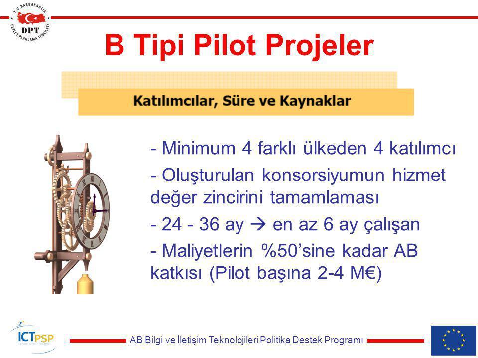 AB Bilgi ve İletişim Teknolojileri Politika Destek Programı B Tipi Pilot Projeler - Minimum 4 farklı ülkeden 4 katılımcı - Oluşturulan konsorsiyumun h
