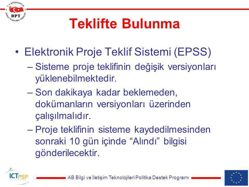 AB Bilgi ve İletişim Teknolojileri Politika Destek Programı Teklifte Bulunma Elektronik Proje Teklif Sistemi (EPSS) –Sisteme proje teklifinin değişik