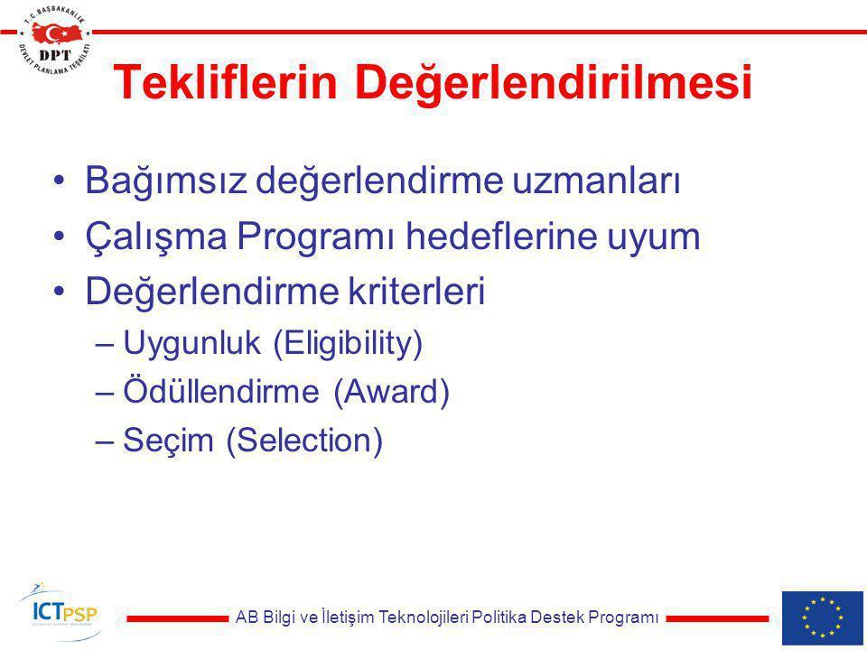 AB Bilgi ve İletişim Teknolojileri Politika Destek Programı Tekliflerin Değerlendirilmesi Bağımsız değerlendirme uzmanları Çalışma Programı hedeflerin