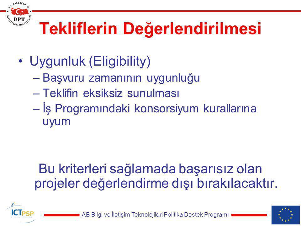 AB Bilgi ve İletişim Teknolojileri Politika Destek Programı Tekliflerin Değerlendirilmesi Uygunluk (Eligibility) –Başvuru zamanının uygunluğu –Teklifi