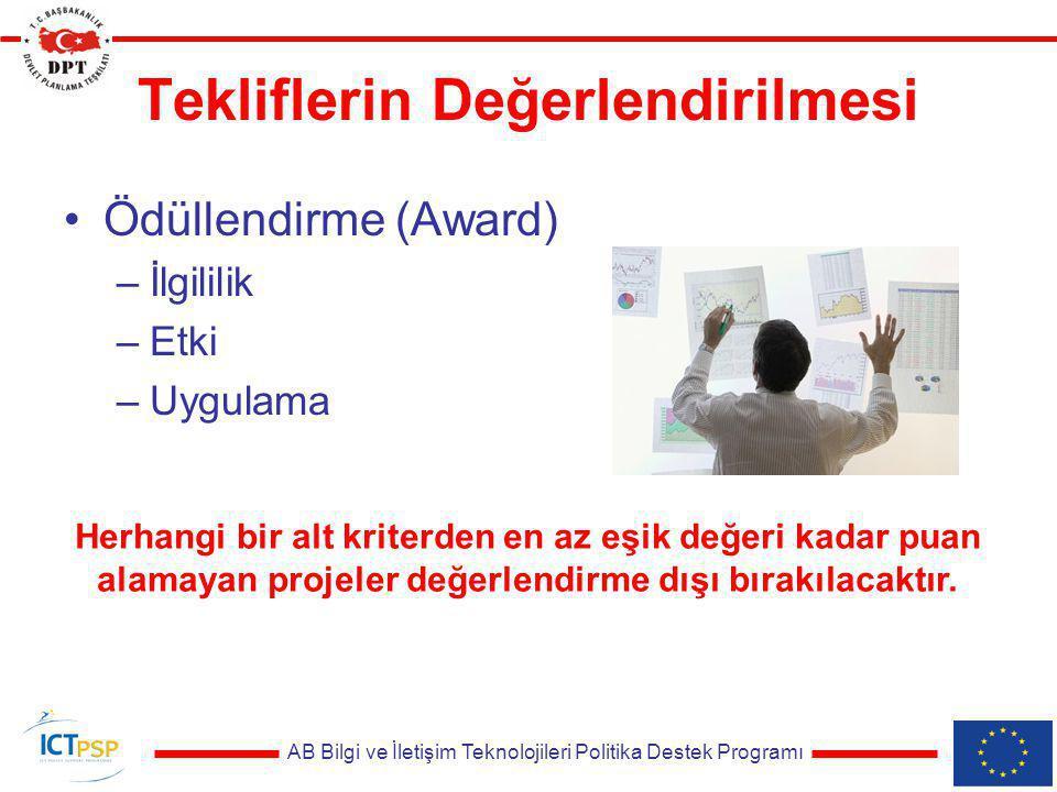 AB Bilgi ve İletişim Teknolojileri Politika Destek Programı Tekliflerin Değerlendirilmesi Ödüllendirme (Award) –İlgililik –Etki –Uygulama Herhangi bir