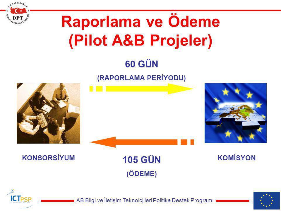 AB Bilgi ve İletişim Teknolojileri Politika Destek Programı Raporlama ve Ödeme (Pilot A&B Projeler) KONSORSİYUMKOMİSYON 60 GÜN (RAPORLAMA PERİYODU) 105 GÜN (ÖDEME)