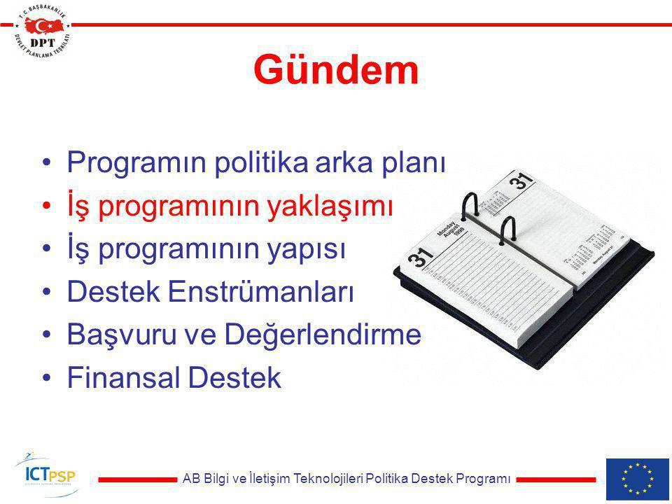 AB Bilgi ve İletişim Teknolojileri Politika Destek Programı Tematik Ağlar - Bilgi Toplumu politikalarının desteklenmesi amacıyla paydaşların, uzmanlıkların bir araya getirilmesi - Yeni politika yürütme şemaları tasarlamak - Açıkça tanımlanmış ve ölçülebilir sonuçlar
