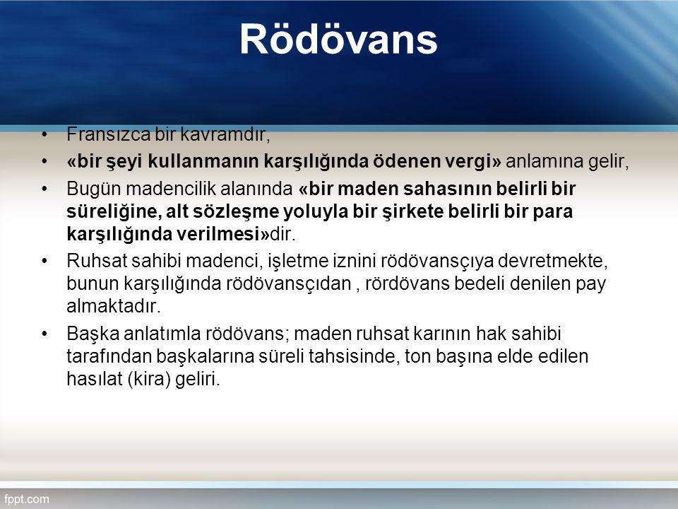 Rödövans Fransızca bir kavramdır, «bir şeyi kullanmanın karşılığında ödenen vergi» anlamına gelir, Bugün madencilik alanında «bir maden sahasının beli