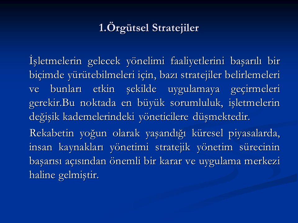 1.Örgütsel Stratejiler İşletmelerin gelecek yönelimi faaliyetlerini başarılı bir biçimde yürütebilmeleri için, bazı stratejiler belirlemeleri ve bunla