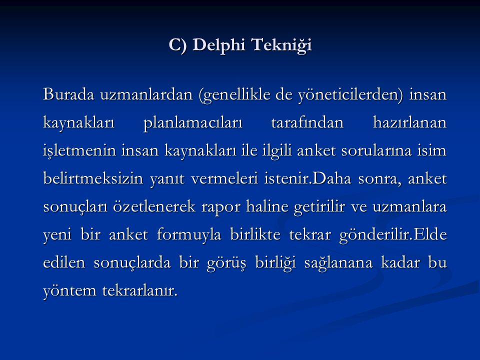 C) Delphi Tekniği Burada uzmanlardan (genellikle de yöneticilerden) insan kaynakları planlamacıları tarafından hazırlanan işletmenin insan kaynakları