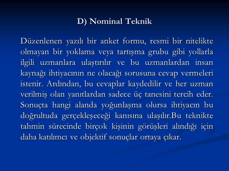 D) Nominal Teknik Düzenlenen yazılı bir anket formu, resmi bir nitelikte olmayan bir yoklama veya tartışma grubu gibi yollarla ilgili uzmanlara ulaştı