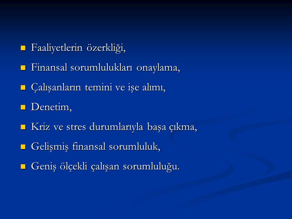 Faaliyetlerin özerkliği, Faaliyetlerin özerkliği, Finansal sorumlulukları onaylama, Finansal sorumlulukları onaylama, Çalışanların temini ve işe alımı