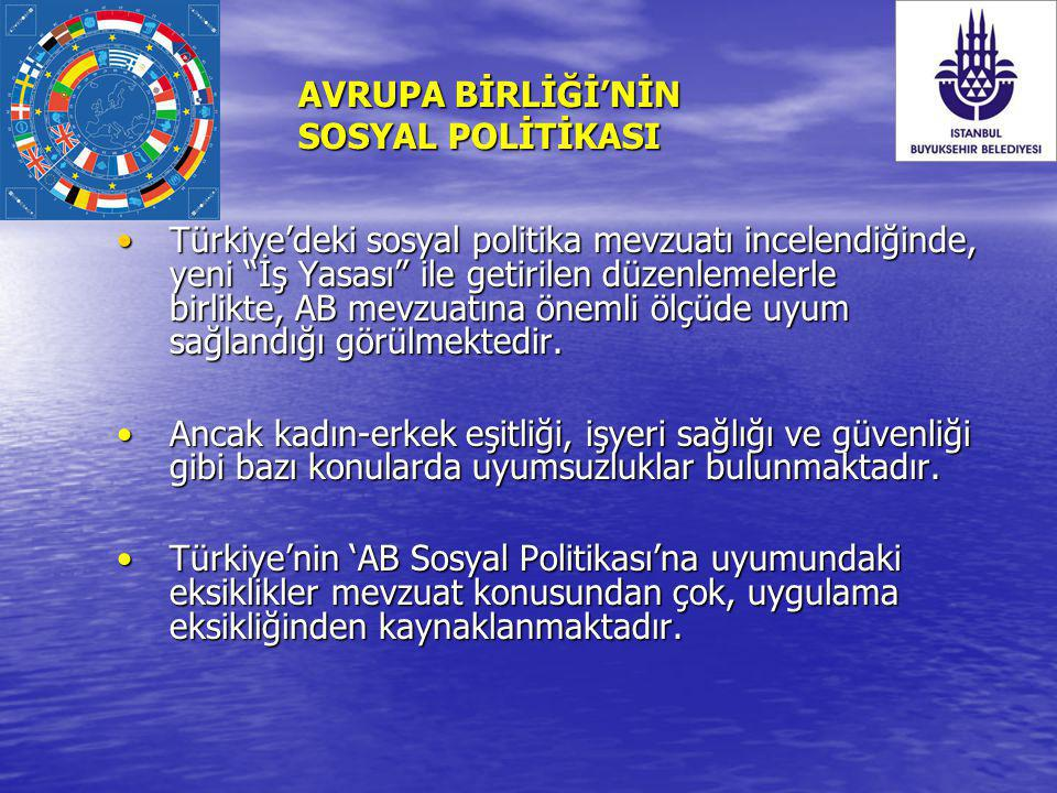 """AVRUPA BİRLİĞİ'NİN SOSYAL POLİTİKASI Türkiye'deki sosyal politika mevzuatı incelendiğinde, yeni """"İş Yasası"""" ile getirilen düzenlemelerle birlikte, AB"""