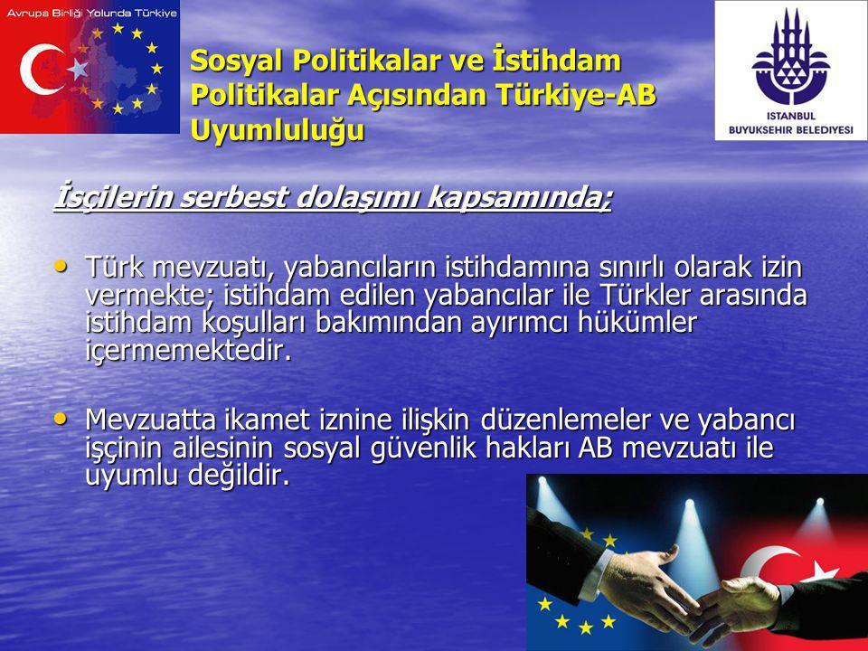 Sosyal Politikalar ve İstihdam Politikalar Açısından Türkiye-AB Uyumluluğu İsçilerin serbest dolaşımı kapsamında; Türk mevzuatı, yabancıların istihdam
