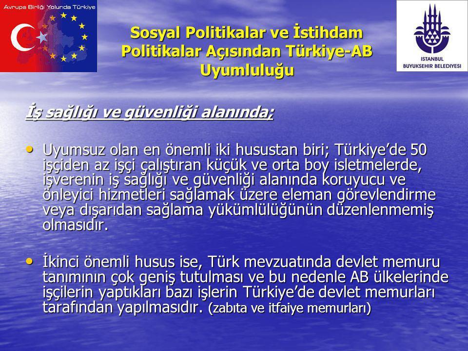 İş sağlığı ve güvenliği alanında; Uyumsuz olan en önemli iki husustan biri; Türkiye'de 50 işçiden az işçi çalıştıran küçük ve orta boy isletmelerde, i