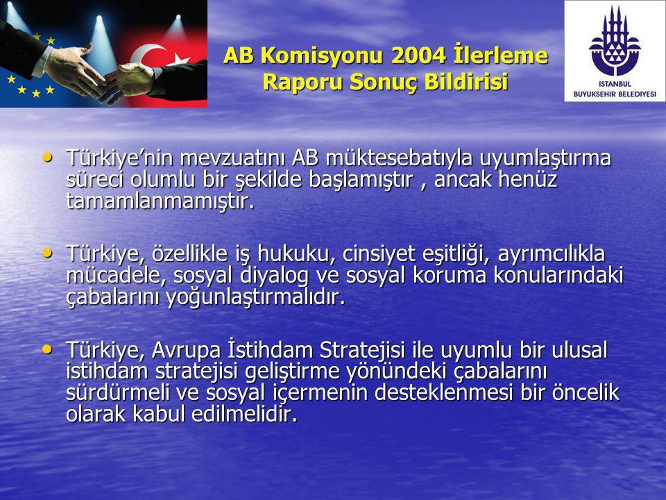AB Komisyonu 2004 İlerleme Raporu Sonuç Bildirisi Türkiye'nin mevzuatını AB müktesebatıyla uyumlaştırma süreci olumlu bir şekilde başlamıştır, ancak h