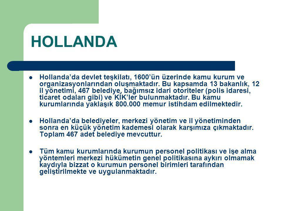 HOLLANDA Hollanda'da devlet teşkilatı, 1600'ün üzerinde kamu kurum ve organizasyonlarından oluşmaktadır. Bu kapsamda 13 bakanlık, 12 il yönetimi, 467
