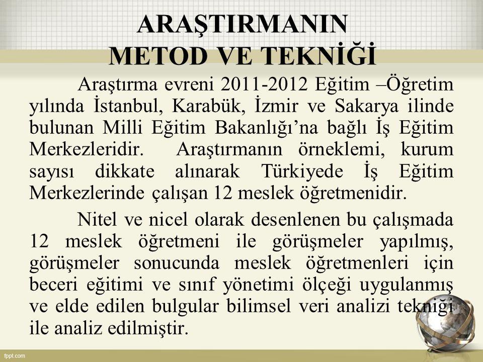 ARAŞTIRMANIN METOD VE TEKNİĞİ Araştırma evreni 2011-2012 Eğitim –Öğretim yılında İstanbul, Karabük, İzmir ve Sakarya ilinde bulunan Milli Eğitim Bakanlığı'na bağlı İş Eğitim Merkezleridir.