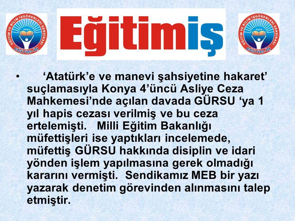 'Atatürk'e ve manevi şahsiyetine hakaret' suçlamasıyla Konya 4'üncü Asliye Ceza Mahkemesi'nde açılan davada GÜRSU 'ya 1 yıl hapis cezası verilmiş ve bu ceza ertelemişti.