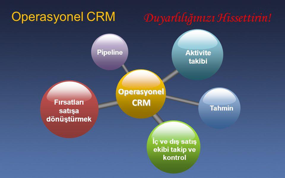 Operasyonel CRM İç ve dış satış ekibi takip ve kontrol Fırsatları satışa dönüştürmek Aktivite takibi Pipeline Tahmin Operasyonel CRM Duyarlılığınızı H