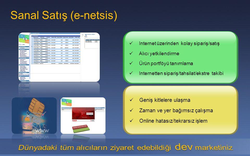 Sanal Satış (e-netsis) Geniş kitlelere ulaşma Zaman ve yer bağımsız çalışma Online hatasız/tekrarsız işlem Internet üzerinden kolay sipariş/satış Alıc